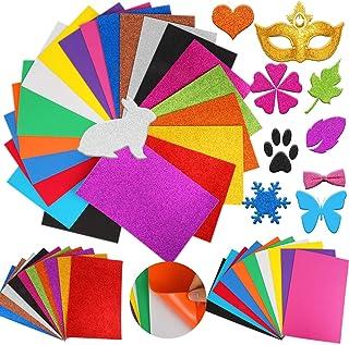 HOWAF 20 Feuille Auto-Adhésif Stickers Paillette Papier Mousse Autocollante pour Artisanat, Coloré Feuilles Adhésives Papi...