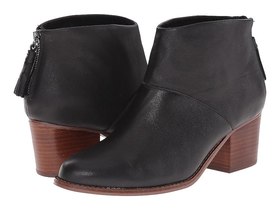 TOMS Leila Bootie (Black Full Grain Leather) Women