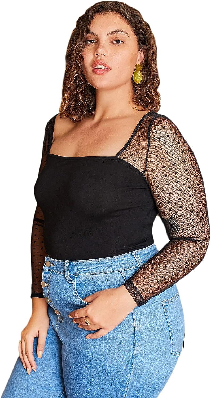 SOLY HUX Women's Sheer Mesh Long Sleeve Slim Fit Top Blouse
