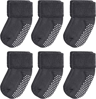 VWU Baby Socks with Grips Thick Cotton Socks for Toddler Infant Baby Girl Baby Boy 0-3 Years Old 5 Color