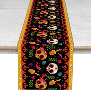 Pudodo Camino de mesa Día de los Muertos Día de los Muertos Decoración de mesa Día de los Muertos Decoración de mesa Méxic...