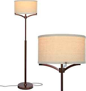 Brightech Elijah LED Floor Lamp - Free Standing Pole Light for Living Room or Office  Modern Tall Reading Light with Drum Shade - LED Bulb Included - Oil Brushed Bronze