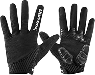 INBIKE KUTOOK Mountain Bike Gloves, Gel Padded Cycling Gloves Full Finger Touch Screen Black X-Large