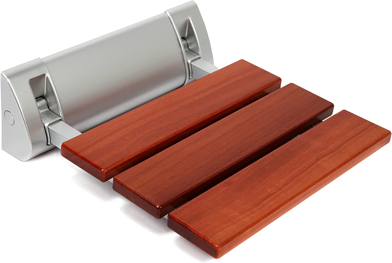 Kenley Folding Shower Seat Wooden Wall Mounted Bench Bathroom Stool - Teak Wood Aluminum