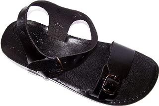 Unisex Leather Biblical Sandals (Jesus - Yashua) Jerusalem Black Style