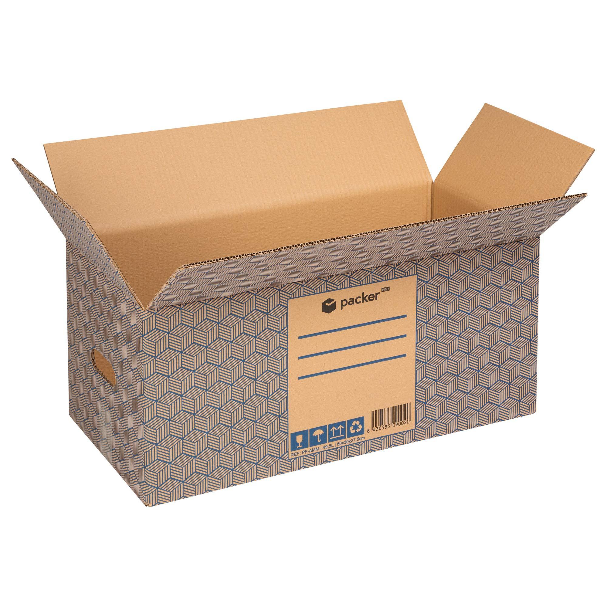 Pack 12 Cajas Carton para Mudanzas y Almacenaje 600x300x275mm Ultra Resistentes con Asas, 100% ECO Box - Packer PRO: Amazon.es: Oficina y papelería
