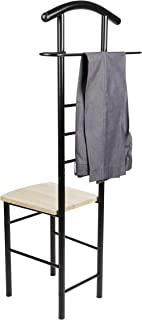 Danya B. HA81870BK Black Chair Valet - Clothing Stand and Organizer - for Men and Women - Suit Caddy