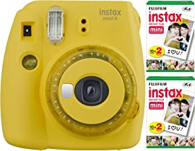 Fujifilm Instax Mini 9 Instant Camera (Yellow) with 2 x Instant Twin Film Pack (40 Exposures) Bundle