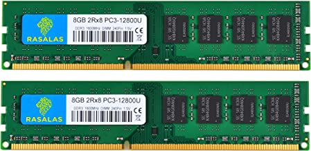 8GB DDR3, Rasalas DDR3 1600 16GB Kit (2x8GB) PC3 12800U 1.5V CL11 2Rx8 PC3 DDR3 Ram Dual Rank Unbuffered 240 Pin DDR3 UDIMM Desktop Memory