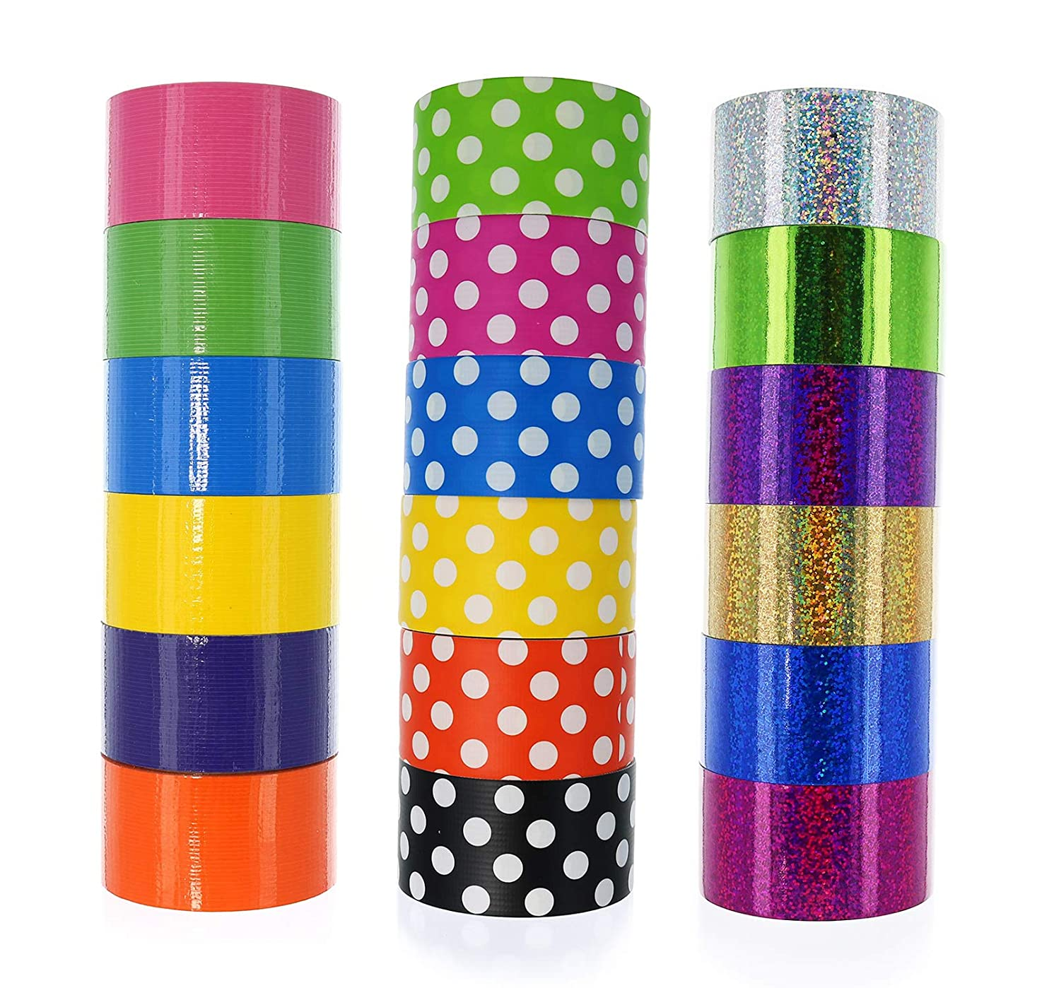 GIFTEXPRESS 18 Assorted Colored Duct Tapes, Holographic Polka Dot Duct Tapes - Multi Purposes Bright Colors Tapes Great for DIY Art Home School Office Colors: Pink Purple red Orange Gold ect. 2