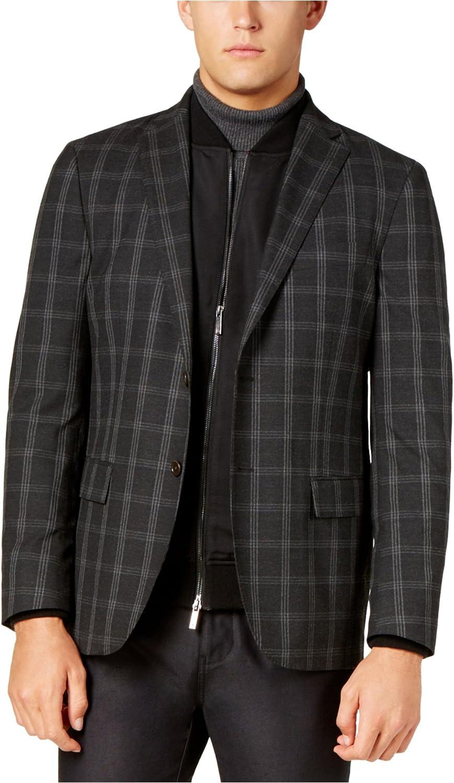 Ryan Seacrest Mens Windowpane Two Button Blazer Jacket, Grey, 38 Long