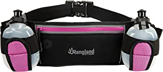 Rangland Sport Water Bottle Hydration Fanny Pack with Large Zippered Pocket (Fits Phone,Cash and Cards) Water Resistant Waist Pouch for Gym Workouts, Biking, Hiking, Running (with 4 Free Bottles) Pink