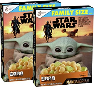 Star Wars: The Mandalorian Fruity Flavored Sweetened Cereal with Marshmallows Breakfast Cereal Family Sized Box - 2 Pck (2...