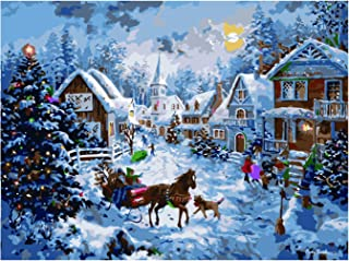 Antiniska DIY Paint by Numbers for Adults Kids DIY Painting Paint by Numbers Christmas Acrylic Paint by Numbers Painting Kit Christmas Hut Bedroom Living Room Decoration for Home Wall Decor