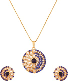 Touchstone Indian Bollywood Kundan Look Jewelry Pendant Set in Antique Gold Tone