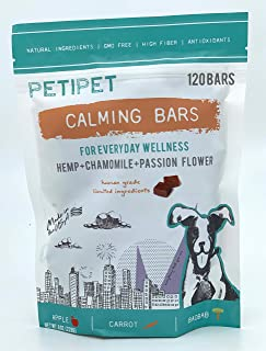 PETIPET Calming Bars Dog Treats - for Anxiety Relief - Formulated with Hemp, Chamomile, and Passion Flower - Human-Grade Ingredients - Made in USA - 120 Count