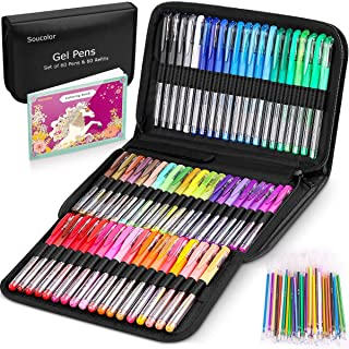 Gel Pens for Adult Coloring Books, 122 Pack Artist Colored Gel Marker Pens Set with 40% More Ink for Kids Drawing Note Tak...