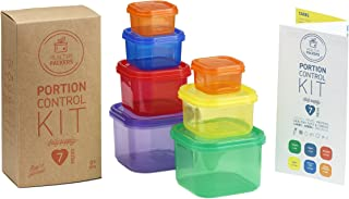 Healthy Packers 7 Piece Portion Control Food Container Kit with Complete Guide, 100% Leak Proof, Multi-Colored System