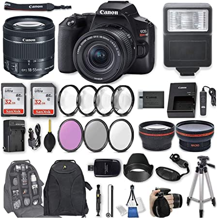 "Canon EOS Rebel SL3 DSLR Camera with EF-S 18-55mm f/4-5.6 is STM Lens + 2Pcs 32GB Sandisk SD Memory + Digital Flash + Filter & Macro Kits + Backpack + 50"" Tripod + More"