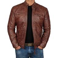 Mens Leather Jacket for Biker -... Mens Leather Jacket for Biker - Distressed Genuine Lambskin Brown Leather Jacket Men