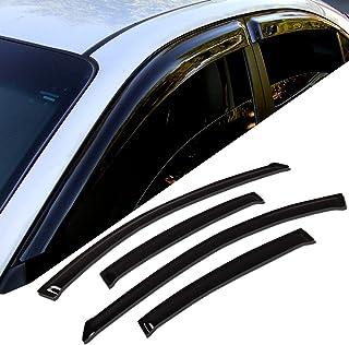 Tuningpros WD2-242 Outside Mount Window Visor Deflector Rain Guard Dark Smoke 4 Pcs Set Compatible With 2009-2015 Honda Pilot