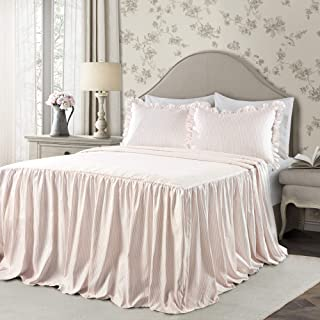 Lush Decor Lush Décor Ticking Stripe Bedspread Blush Shabby Chic Farmhouse Style Lightweight 3 Piece Set King