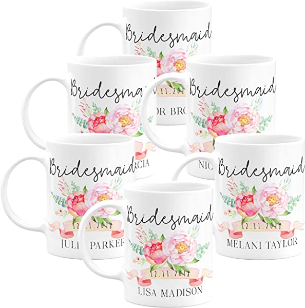 Personalized Bridesmaid Coffee Mug Gifts With Name And Title 11oz Wedding Favors Party Favors Bridesmaid Gifts Housewarming Gifts Design 1 Set Of 6