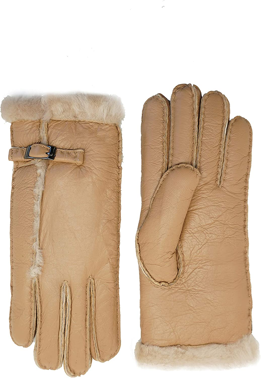 YISEVEN Womens Winter Sheepskin Shearling Leather Gloves Wool Lined Furry Cuffs Heated Sherpa Merino Thick Mittens Soft Warm Fur Lining for Cold Weather Driving Work Gifts, Camel XL