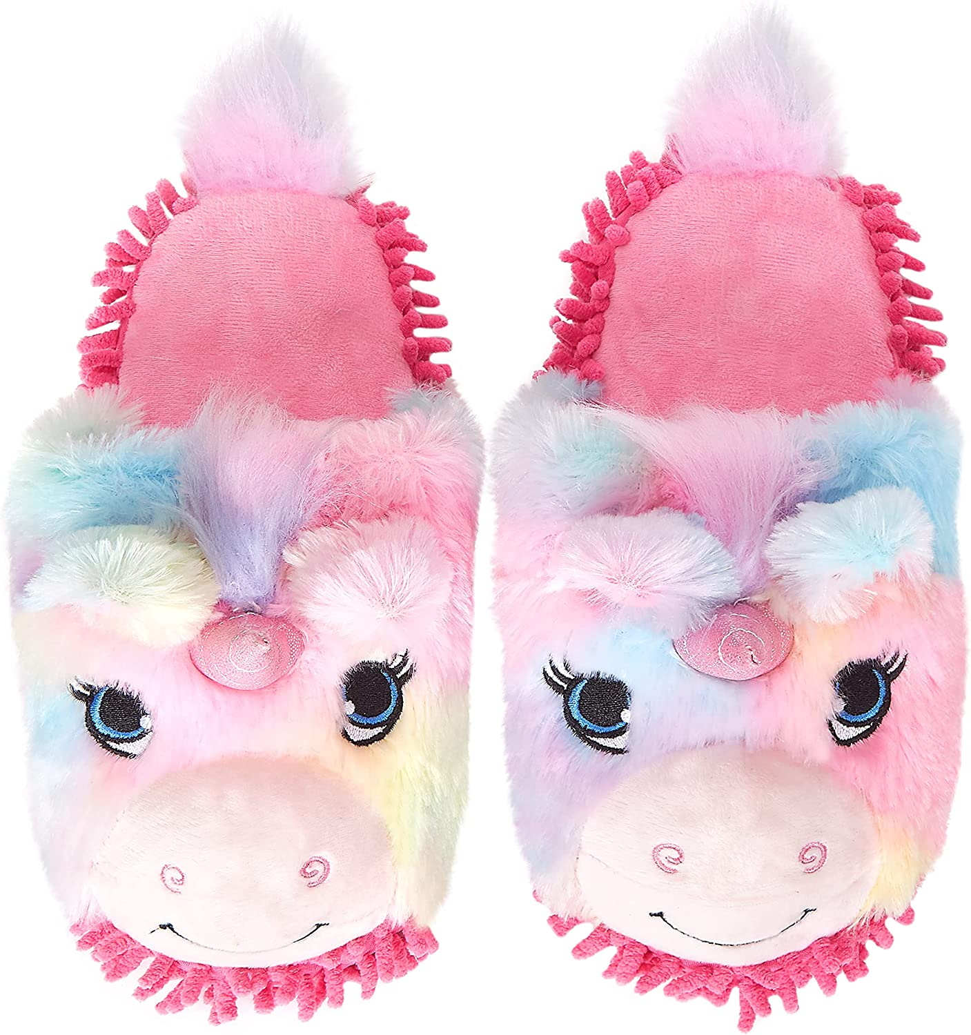 Cozy Memory Rainbow Plush Unicorn Mop Slippers for Women Home Cleaning Helper Microfiber Sole Lightweight Animal House Shoes for Bathroom Office Kitchen Gifts for Girls