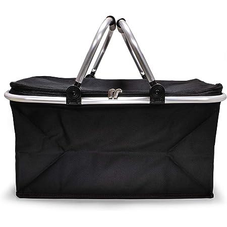 e-Best - Einkaufskorb - Korb mit gepolsterten Tragegriffen - Picknickkorb, Einkaufstasche, Picknicktasche, Klappbox, Klappkorb - faltbar