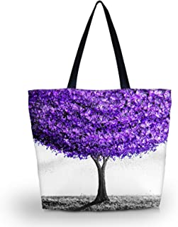 Beach Tote Bags Travel Totes Bag Shopping Zippered Tote for Women Foldable Waterproof Overnight Handbag (Purple tree)