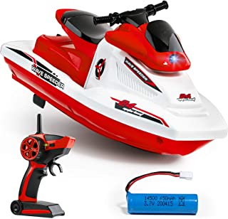 Force1 Wave Speeder RC Boat- Remote Control Boat for Pools and Lakes for Kids and Adults, Long Range Radio Controlled Motor Boat, (1) Mini RC Boat, USB Charging Cable, and 2.4 GHz Remote Control (Red)
