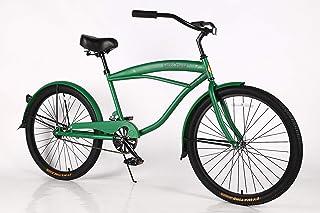 Movable Beach Cruiser Bike - Bicicleta para hombre, marco de acero de 26 pulgadas, bicicleta de una velocidad con frenos de posavasos y neumáticos anchos, sillín ancho y suave agarre, con suspensión