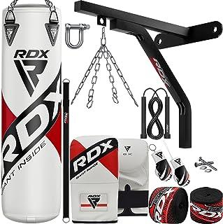 RDX Punching Bag Boxing Training, 15pc Filled 5ft 4ft Heavy Duty set, Wall Bracket Punching Gloves Steel Chain, Maya Hide ...