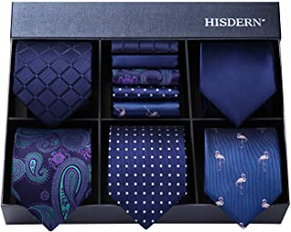 مجموعه گردنبند مردانه HISDERN ، لوت 5 PCS کلاسیک ابریشمی پیراهن مردانه پیراهن و مربع مربع با جعبه هدیه