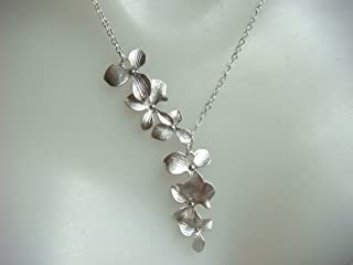 Cascading Triple Orchid Necklace
