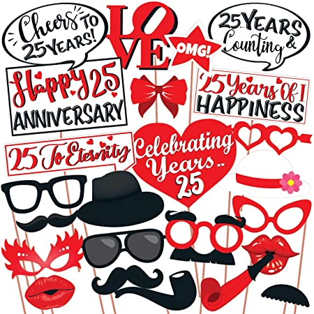 Wobbox 25th Anniversary Photo Booth Party Props DIY Kit, Red & White , Anniversary Party Decoration 25 Pcs