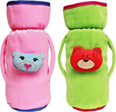 My NewBorn Kids Fabric Baby Feeding Bottle Covers with Cartoon (240ml, Pink/Green)