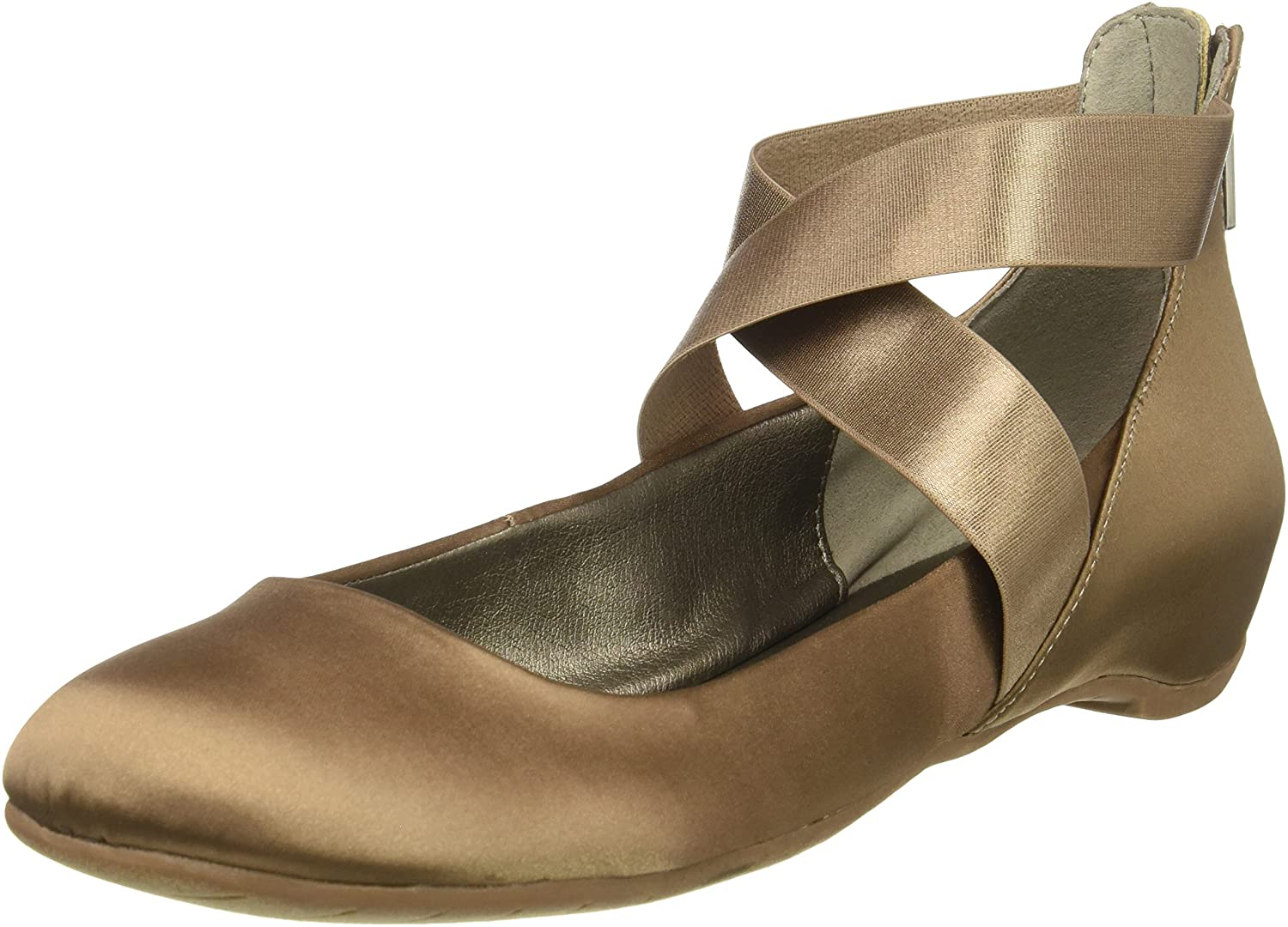 Kenneth Cole REACTION Womens Pro-time Ballet Flat with Elastic Ankle Strap, Back Zip- Satin Ballet Flat