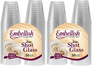 [100 Count] Embellish, 2 oz Crystal Clear Disposable Hard Plastic Shot Glass, Great for Whiskey, Jello, Shots, Tasting, Sauce, Dips, Samples, Perfect For Home, Bar, Parties, or Receptions