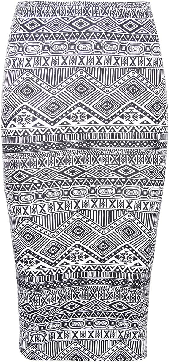 Womens New Leopard Skull Aztec Moustache Multi Printed Pattern Ladies Bodycon Fitted Straight Stretch Elasticated Waistand Midi Pencil Tube Skirt Dogtooth Prin
