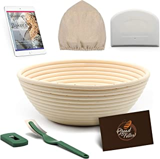 9 Inch Proofing Basket Round Banneton Bread Basket - Bread Making Tools - Proofing Baskets for Sourdough Bread | Bread Scraper Dough | Bread Lame | Cloth Liner - Bread Baking Set