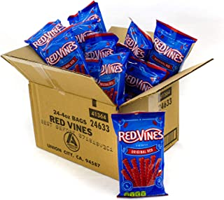 Red Vines Licorice Twists, Original Red Flavor, Soft & Chewy Candy, 4 Ounce, Pack of 24