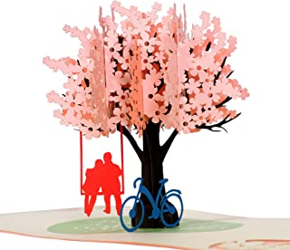 CutePopup Cherry Blossom 3D Popup Greeting Cards Perfect for Valentines Day, Mothers Day, Father 's Day, Anniversary Greeting Cards Unique Original Handmade Gift for Family and Friends