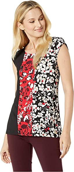 Sleeveless Blocked Printed Top