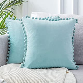 Best Top Finel Decorative Throw Pillow Covers for Couch Bed Soft Particles Velvet Solid Cushion Covers with Pom-poms 18 x 18 Inch 45 x 45 cm, Pack of 2, Light Blue Reviews
