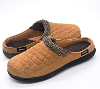Zigzagger Men's Comfort Suede Fabric Memory Foam Slippers with Plush Fleece Lining, Causal Slip On Clog Mule House Shoes with Indoor Outdoor Anti-Skid Hard Rubber Sole