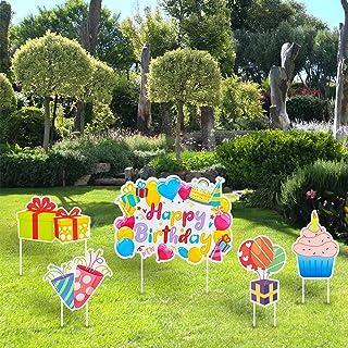 maxgoods Happy Birthday Yard Sign Set of 5,Cupcake Balloon Lawn Sign,Outdoor Birthday Decorations,Garden Lawn Birthday Dec...