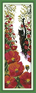 CaptainCrafts Hots Cross Stitch Kits Patterns Embroidery Kit - Red Flowers And Black Cat (STAMPED)