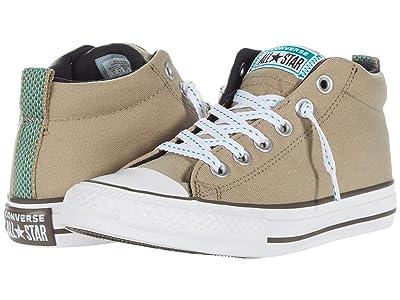 Converse Kids Chuck Taylor(r) All Star(r) Street Whip Stitch Mid (Little Kid/Big Kid) (Khaki/Malachite/Black) Boy